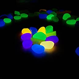Fish Tank Glow Stone for Fish Tank Accessories Turtle Tank Accessories Decorations,Aquarium Pebbles,Fantastic Garden or Yard Mixed Color by LesyPet