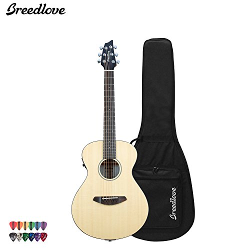 Breedlove Passport Traveler Acoustic Electric Guitar With Chromacast 12 Pick Sampler And Breedlove Gig Bag