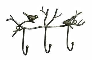 Creative Co-Op Metal Twig and Bird Wall Hooks, Rust