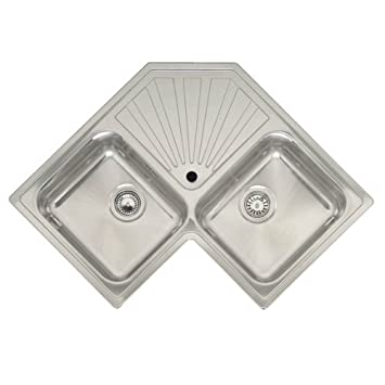 Reginox Montreal 2.0 Bowl Polished Stainless Steel Corner Kitchen Sink by Reginox