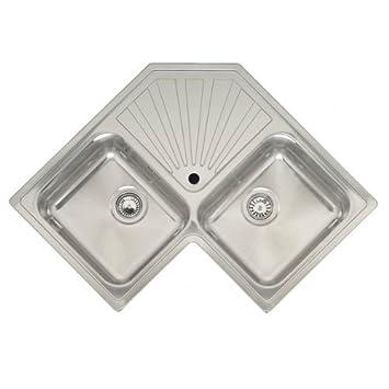 Reginox Montreal 2.0 Bowl Polished Stainless Steel Corner Kitchen Sink by Reginox