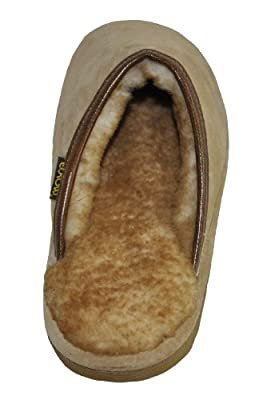Eurow Men's Hardsole Sheepskin Scuff Slipper - Chestnut/Stoney