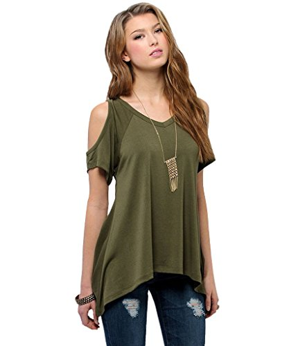 Milkuu Women's Cold Shoulder Hollow Out Tunic Top - XXXX-Large - Green
