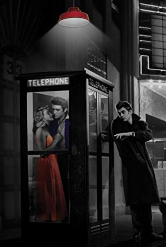 Midnight Matinee Marilyn Monroe James Dean and Elvis Presley by Chris Consani 36x24 Art Print Poster Wall Decor Hollywood Romantic Movie Theatre Phone Booth (James Dean Wall Decor compare prices)