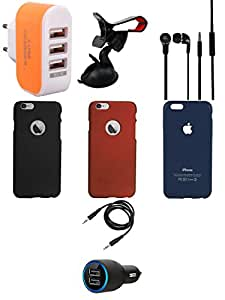 NIROSHA Cover Case Car Charger Headphone Mobile Holder Charger for Apple iPhone 6 - Combo