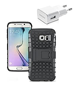 YGS Tough Rugged Dual Layer Back Case with Kickstand for Samsung Galaxy S7 Edge-Black With USB Wall Charger