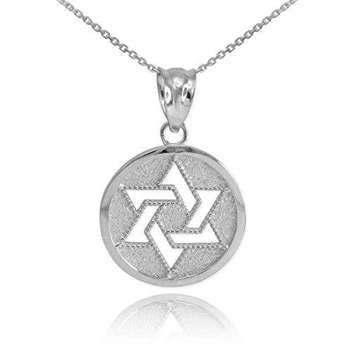 Fine 925 Sterling Silver Milgrain-Edged Medal Jewish Star of David Pendant Necklace, 16""