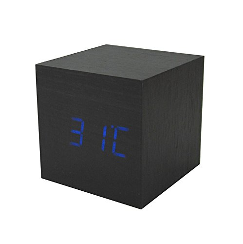 Amars(Tm) Ultra-Simple Fashion Wooden Rechargeable Alarm Clock With Usb Large Display With Temperature Date Sound Control Cube Shape 9505