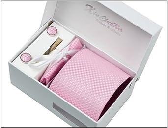 Rayures Roses Ensemble Cravate d'homme , Mouchoir , épingle et boutons de manchette coffret cadeau
