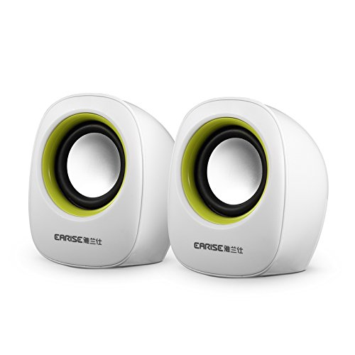 Portable Mini Computer Speakers Earise Al-101(White), Powered By Usb, For Laptops, Mac, Notebooks, Ultrabooks, Desktops And More,(Usb & Audio Jack Are Both Required) , By Gemini Doctor