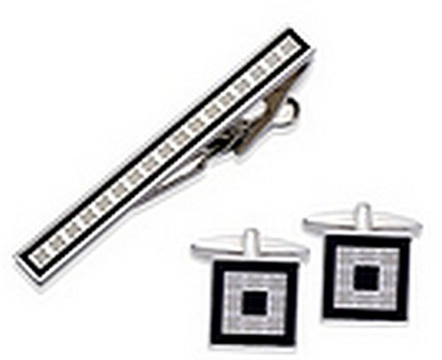 Imitation Rhodium Plating with Black Enamel Cufflinks and Tie Clip Set
