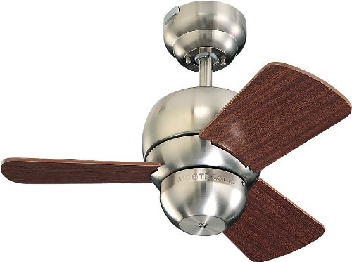 Monte Carlo 3Tf24Bs Micro 24-Inch 3-Blade Ceiling Fan With Mahogany Blades, Brushed Steel