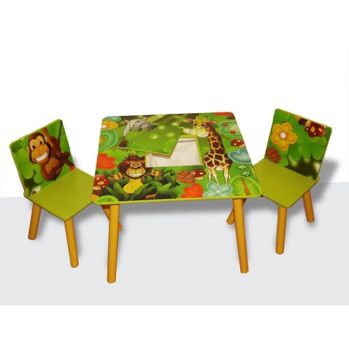 Kids Wooden Square Table and Chairs Set with Storage - Jungle Theme