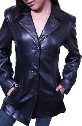Women's 3 Buttons Black Blazer Jacket Genuine Leather Italian Style