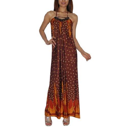 Womens Thai Exotic Sexy Full-Length Elegant Halter Long Dress / Party Dress - Size: M-L