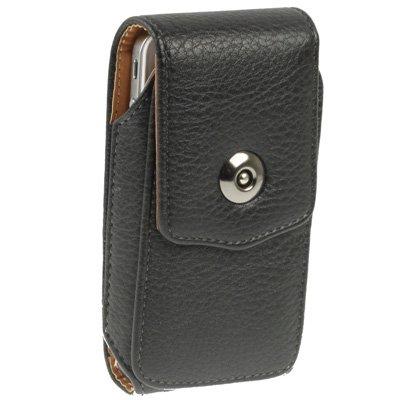 Étui verticale en vrai cuir, couleur noir, avec clip ceinture et fermeture magnétique pour Apple iPhone 5 / iPhone SE - Ligne Premium de AQ Mobile