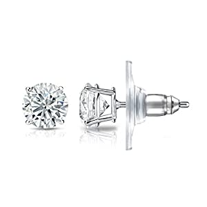 IGI Certified 14k White Gold 4-Prong Basket Round Diamond Stud Earrings (1 ct, J-K, I1-I2)