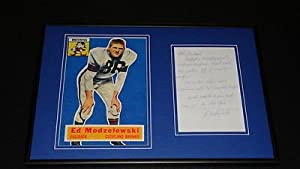 Ed Modzelewski Signed Framed Handwritten Letter & Photo Display Cleveland Browns by The Steel City Auctions Gallery