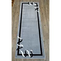 Modern Area Rug Runner 32 Inch X 7 Feet 6 Inch Geo 156 Grey