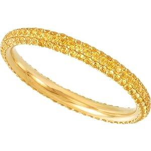 14K Yellow Gold Yellow Sapphire Bridal Eternity Band: Size 5
