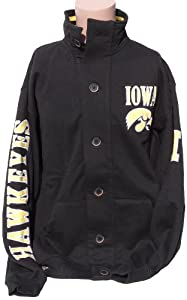 NCAA Iowa Hawkeyes Mens Button Collar Sweatshirt, Yellow Black by Donegal Bay