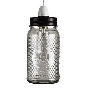 Retro Style Clear Glass Coffee Jar Ceiling Pendant Light Shade by MiniSun