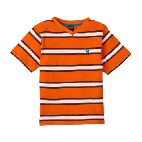Us Polo Association Little Boys' Stripe V-Neck Tee (Orange 7)