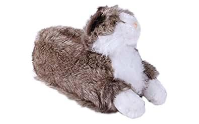 Happy Feet - Gray & White Cat - Animal Slippers - 2XL