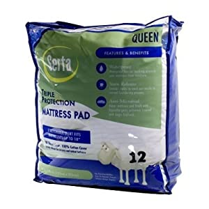 Serta Triple Protection Queen Size Mattress Pad Waterproof, Stain Release, Anti-Microbial