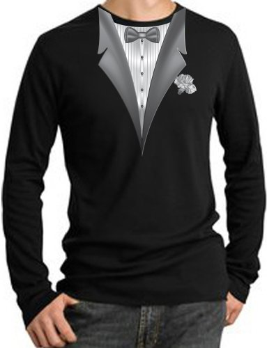 TUXEDO with WHITE FLOWER Tux Adult Long Sleeve Thermal T-Shirt – Black