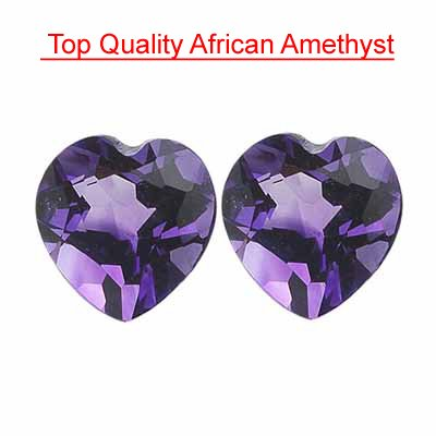 3.44 Cts of 8 mm Heart Matching Loose Amethyst ( 2 pcs set ) Gemstones