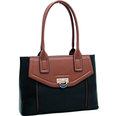 Classy Retro Style Handbag Purse Black/Coffee Brown
