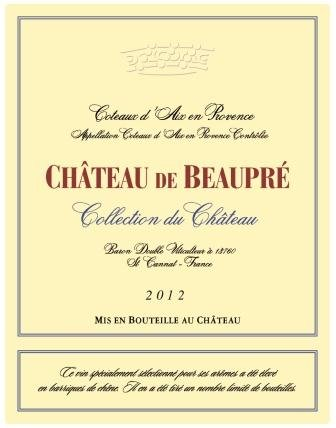 """2012 Chateau De Beaupre """"Collections"""" Provence White"""