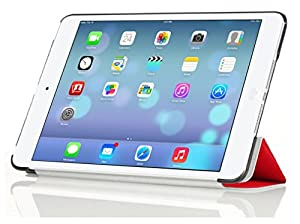InventCase Apple iPad mini 2 / 3 Tablet (2nd and 3rd Generations - 7.9-Inch) Smart Multi-Functional Leather 3-Fold Case Cover with Sleep Wake Function - Red