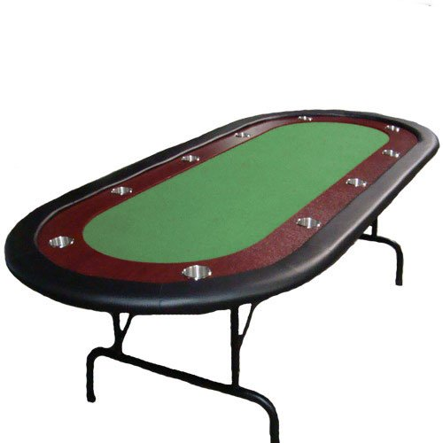 Green Felt Poker Chip Table with Dark Wooden Race Track & 10 Cup Holders with Solid Wood Construction