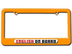 English On Board License Plate Tag Frame - Color Orange