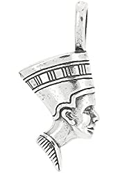 Sterling Silver One Sided Great Royal Wife Nefertiti Charm Pendant