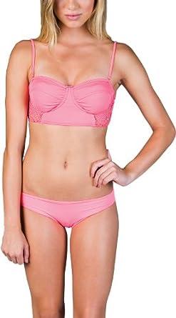 Billabong Women's Ryann Bandeau Bikini Top Neon Coral Small