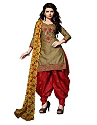 Desi Look Women's Beige Cotton Patiyala Dress Material With Dupatta - B018LKCGN4