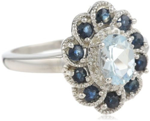 Sterling Silver Aquamarine, Blue Sapphire and Diamond Flower Ring, Size 7