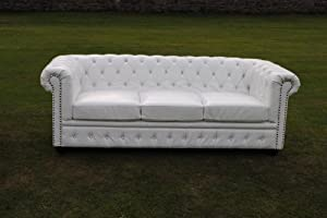 White Bycast Leather Chesterfield Diamante 3 Seater Setee sofa by Chesterfield
