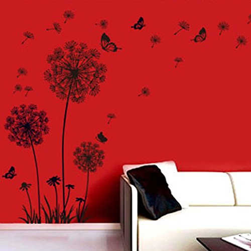 Malloom tarassaco neri e farfalle che volano nel vento - Adesivi da parete camera da letto ...