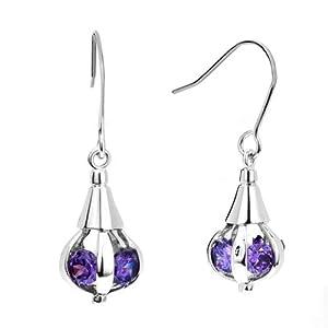 Mothers Day Gifts Feb Birthstone Amethyst Purple Crystal Dangle Earrings