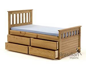 Captains Bed 3ft Single with 4 Drawers Frame Antique Solid Pine Finish Ferrara Kids & Budget Mattress