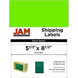 JAM Paper® Large Shipping Labels - Half Sheet (5 1/2 x 8 1/2 in) - Neon Green - 2 Labels per Sheet, 50 Per Pack