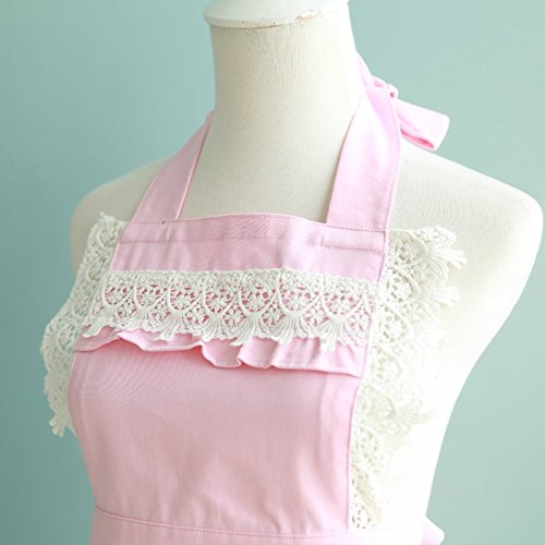Lovely Lace Work Aprons Home Shop Kitchen Cooking Tools Gifts for Women Aprons,pink 2