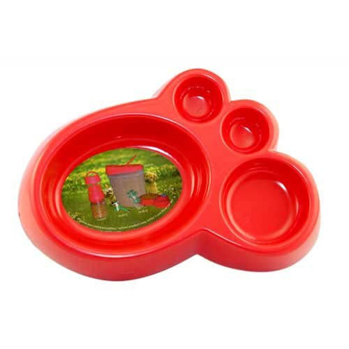 Plastic Food Bowl for Dog or Cat - Red, Footprint Pattern 