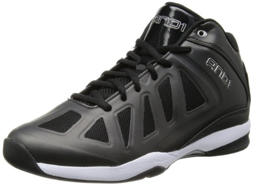 AND 1 Men's Backlash Mid Basketball Shoe,Black/Black/White,6.5 M US