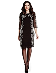 Per Una Floral Beaded & Embroidered Tunic Dress