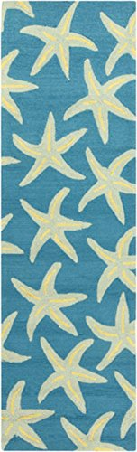 25-x-8-Starfish-Delight-Light-Green-and-Teal-Hand-Hooked-Outdoor-Patio-Area-Throw-Rug-Runner